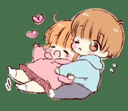Sticker of a boy and a girl(Boys side) sticker #13055284