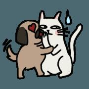 สติ๊กเกอร์ไลน์ pug and cat's love story