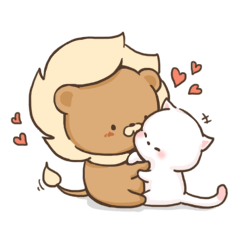Lion and Kitty, adorable couple.
