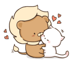 Lion and Kitty, adorable couple. sticker #13227782