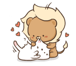 Lion and Kitty, adorable couple. sticker #13227784
