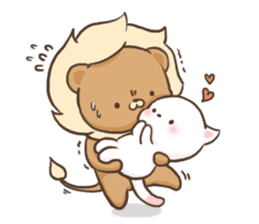 Lion and Kitty, adorable couple. sticker #13227785