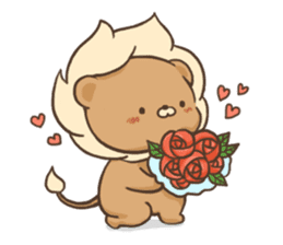 Lion and Kitty, adorable couple. sticker #13227788