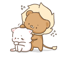 Lion and Kitty, adorable couple. sticker #13227790
