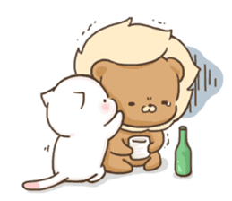 Lion and Kitty, adorable couple. sticker #13227791