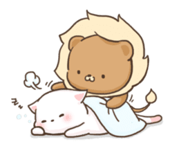 Lion and Kitty, adorable couple. sticker #13227792