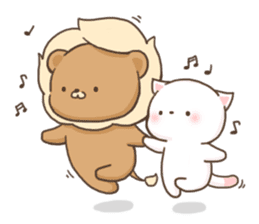 Lion and Kitty, adorable couple. sticker #13227798