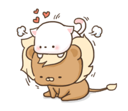 Lion and Kitty, adorable couple. sticker #13227800