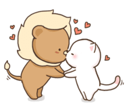 Lion and Kitty, adorable couple. sticker #13227801