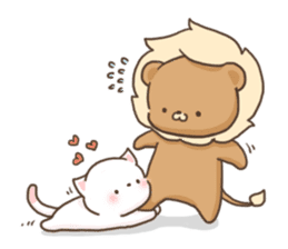 Lion and Kitty, adorable couple. sticker #13227806
