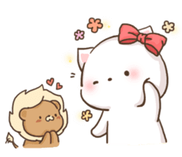 Lion and Kitty, adorable couple. sticker #13227807