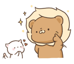 Lion and Kitty, adorable couple. sticker #13227808