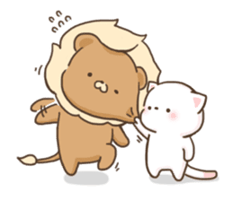 Lion and Kitty, adorable couple. sticker #13227809
