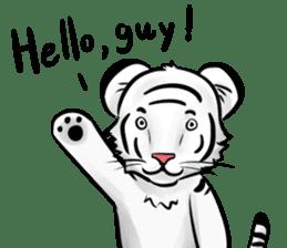 Smiling white tiger (English version) sticker #13286814