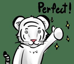 Smiling white tiger (English version) sticker #13286816