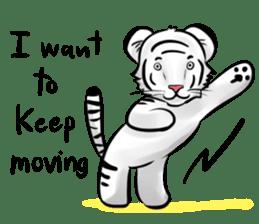 Smiling white tiger (English version) sticker #13286818