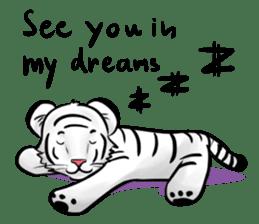 Smiling white tiger (English version) sticker #13286821