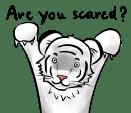 Smiling white tiger (English version) sticker #13286822