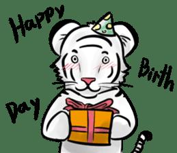 Smiling white tiger (English version) sticker #13286823