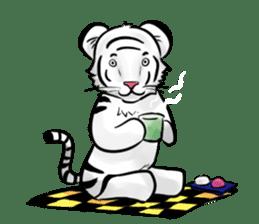 Smiling white tiger (English version) sticker #13286831