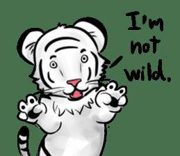 Smiling white tiger (English version) sticker #13286845