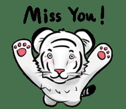 Smiling white tiger (English version) sticker #13286852