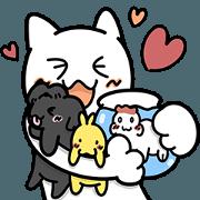 สติ๊กเกอร์ไลน์ แมวขาว & หมีช็อกโกแลต (เจ้าสัตว์เลี้ยง)