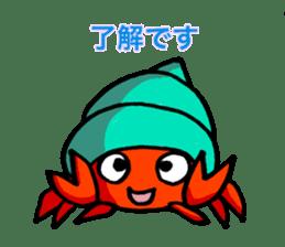 Spotted garden eel and Hermit crab sticker #13363943