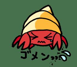Spotted garden eel and Hermit crab sticker #13363944