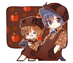 Autumn and winter of a cat ear sticker #13453453