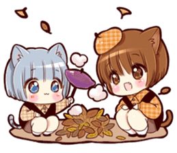 Autumn and winter of a cat ear sticker #13453454