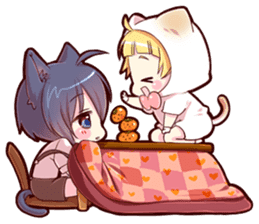 Autumn and winter of a cat ear sticker #13453459