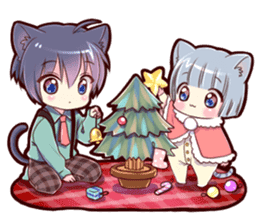 Autumn and winter of a cat ear sticker #13453461