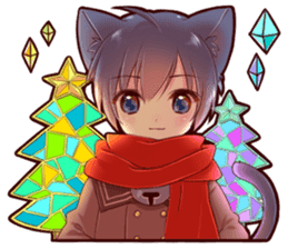 Autumn and winter of a cat ear sticker #13453462