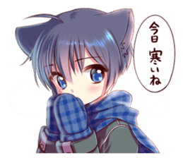 Autumn and winter of a cat ear sticker #13453480