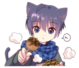 Autumn and winter of a cat ear sticker #13453484