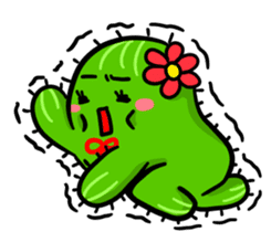 Fat cute cactus sticker #13481719