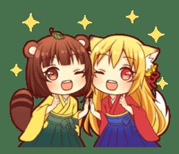 Tanuki & Fox girl sticker #13612646