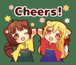 Tanuki & Fox girl sticker #13612647