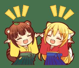 Tanuki & Fox girl sticker #13612648