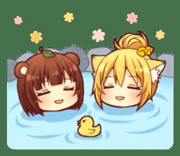 Tanuki & Fox girl sticker #13612649