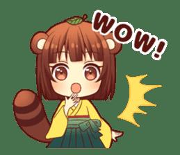 Tanuki & Fox girl sticker #13612652