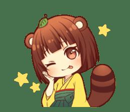 Tanuki & Fox girl sticker #13612658