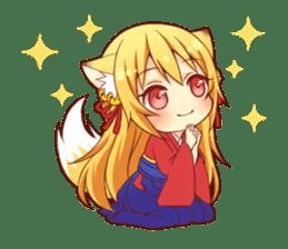 Tanuki & Fox girl sticker #13612659