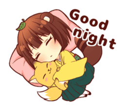 Tanuki & Fox girl sticker #13612660