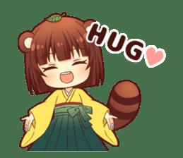 Tanuki & Fox girl sticker #13612666