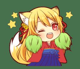 Tanuki & Fox girl sticker #13612673
