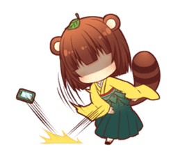 Tanuki & Fox girl sticker #13612674