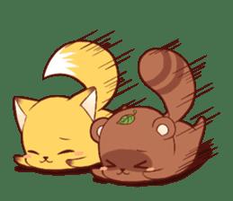 Tanuki & Fox girl sticker #13612683