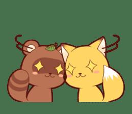 Tanuki & Fox girl sticker #13612684